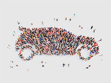 Group of People forming Car